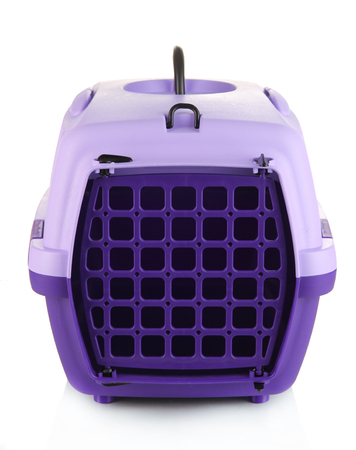 cat carrier: Pet travel plastic cage isolated on white Stock Photo