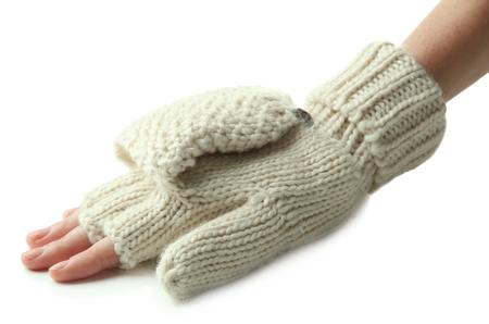 fingerless gloves: Hands in wool fingerless gloves, isolated on white Stock Photo