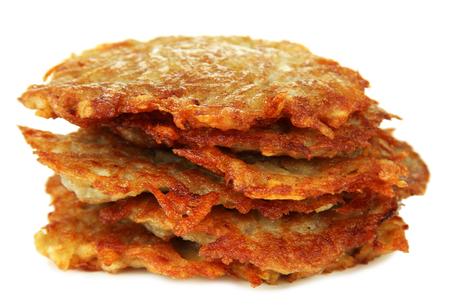 fritter: Potato pancakes, isolated on white Stock Photo