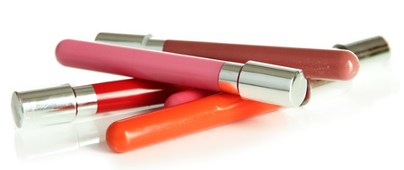 glosses: Beautiful lip glosses, isolated on white Stock Photo