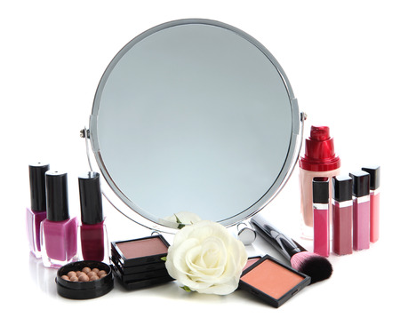 Group decorative cosmetics for makeup and mirror, isolated on white photo
