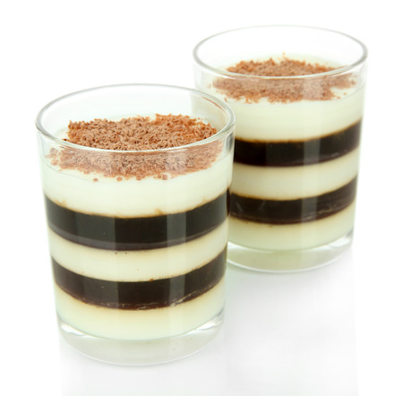 coffee jelly: Tasty jelly coffee with milk isolated on white