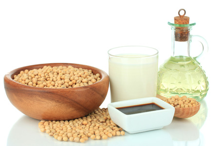 Soy products isolated on white photo