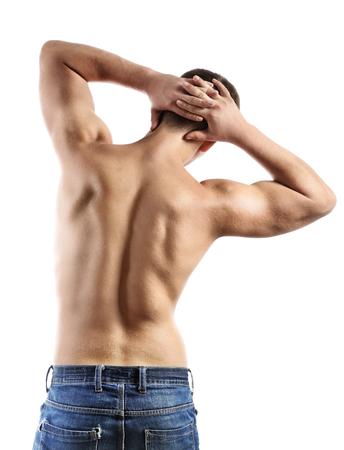 m�nner nackt: Handsome junger muskul�ser Sportler, isoliert auf wei�