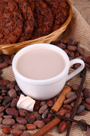 Cocoa drink and cocoa beans on sackcloth  background Stock Photo - 22897462