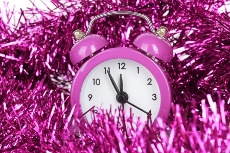 Composition of clock and christmas decorations close-up photo