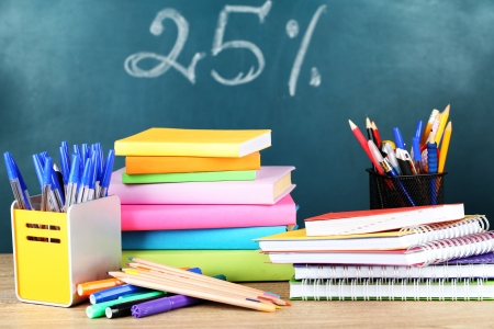 studing: Office supplies on table on school board