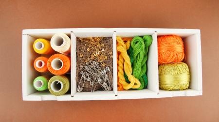 handiwork: Thread and materials for handiwork in box on brown  Stock Photo