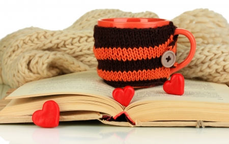 Cup with knitted thing on it and open book close up photo