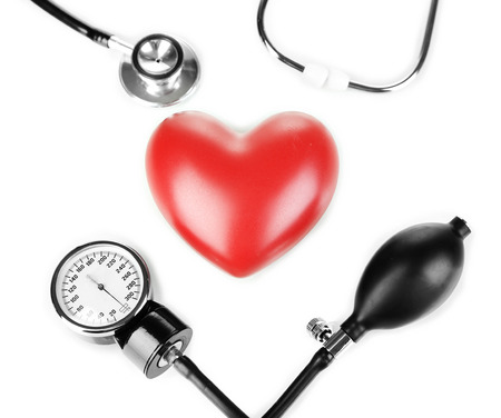 Tonometer, stethoscope and heart isolated on white Stock Photo - 23113535