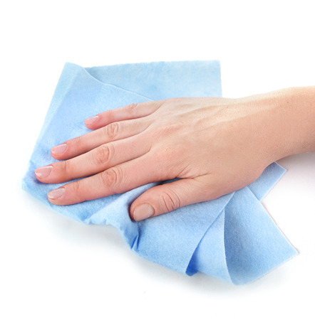 Hand wiping surface with blue rag isolated on white Stock fotó