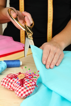 Cutting fabric with tailors scissors Stock Photo - 23114057