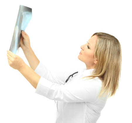 Medical doctor analysing x-ray image isolated on white Stock Photo - 24339628