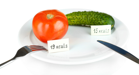 Calorie content of cucumber and tomato isolated on white