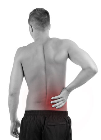 Young man with back pain, isolated on white Stock Photo - 23209719