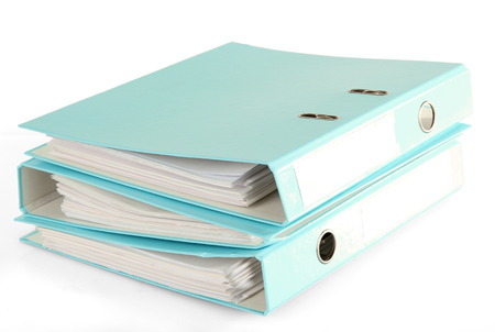 Blue folders, isolated on white photo