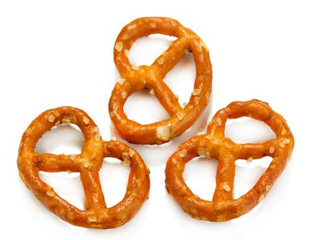 Tasty pretzels isolated on white Stock Photo
