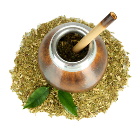 mate infusion: Calabash and bombilla with yerba mate isolated on white Stock Photo