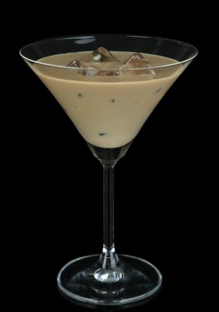 baileys: Baileys liqueur in glass isolated on black