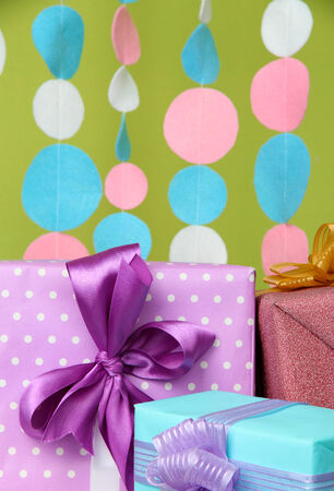 Beautiful presents on bright background photo