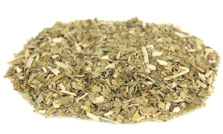 yerba mate: Mate cocido en seco, aislado en blanco Foto de archivo