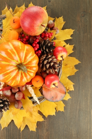 Beautiful autumn composition, on wooden background photo
