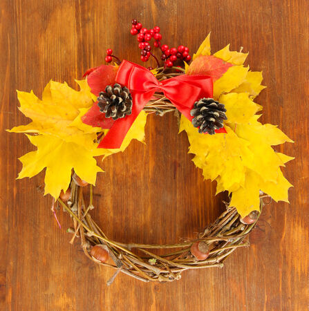 beautiful thanksgiving: Beautiful Thanksgiving wreath, on wooden background