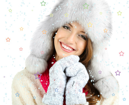 Beautiful smiling girl in hat isolated on white photo
