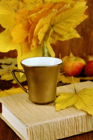 Autumn leaves, cup and book on wooden table close-up photo