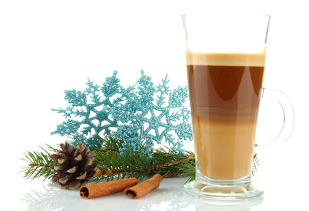 Cup of hot coffee with Christmas decorations isolated on white photo