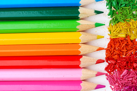 sharpening: Colour pencils with sharpening shavings, close up