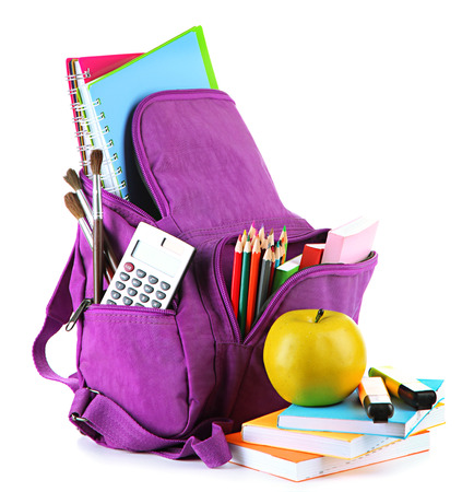apple sack: Purple backpack with school supplies isolated on white