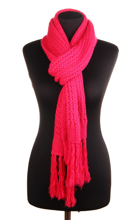 Mannequin wearing scarf isolated on white photo