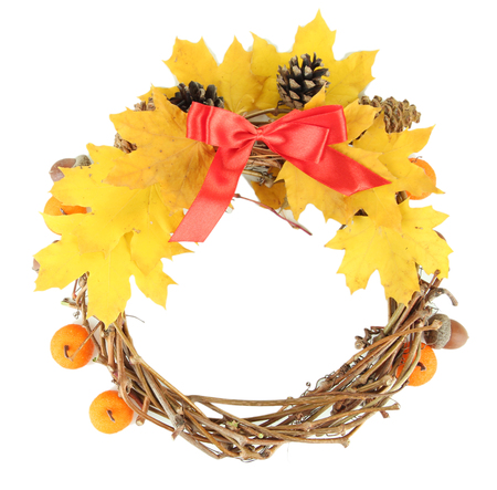beautiful thanksgiving: Beautiful Thanksgiving wreath, on white wooden background Stock Photo
