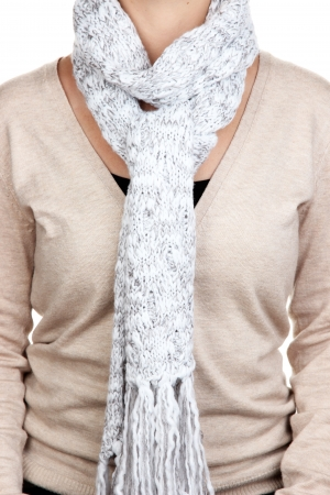Woman wearing scarf close up photo
