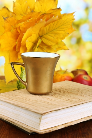 Autumn leaves, cup and book on wooden table on natural background photo