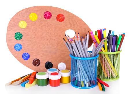 creative tools: Composizione di vari strumenti creativi isolato su bianco Archivio Fotografico
