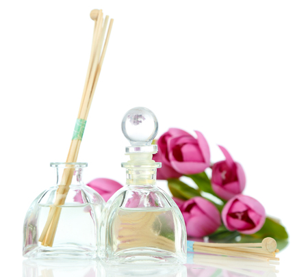 room air: Room air refreshers with flowers isolated in white