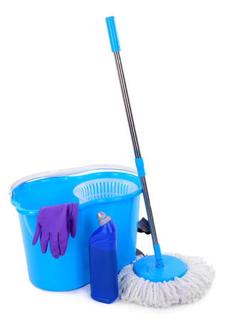 office cleanup: Different tools for cleaning floor in room Stock Photo