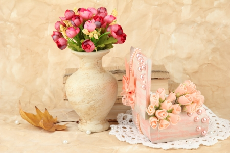 Beautiful still life with vintage casket and flowers photo