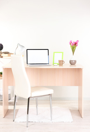 Workplace at home with laptop, close up Stock Photo - 24189515