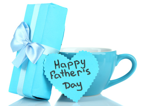 Happy Fathers Day tag with gift box and cup, isolated on white photo