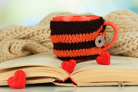 warm things: Cup with knitted thing on it and open book close up