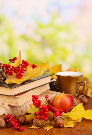 Books and autumn leaves on wooden table on natural  photo