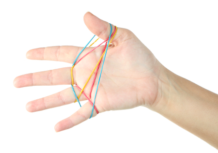 elastic band: Elastic band on hands, isolated on white