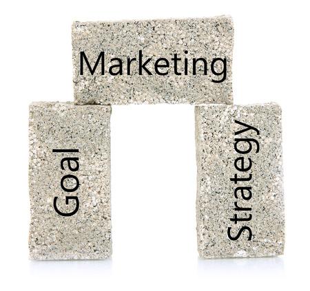 establishes: Marketing building blocks isolated on white