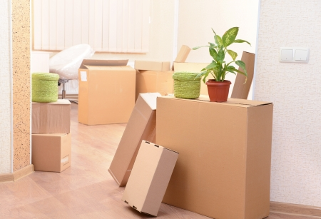 Empty room with stack of cartons: moving house concept
