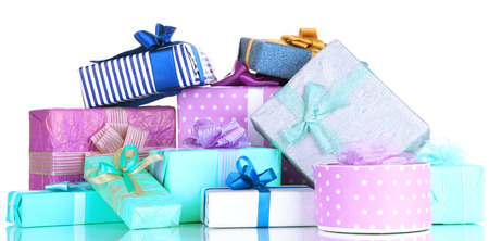 Pile of colorful gifts boxes isolated on white Stock Photo