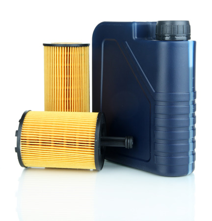 milliliters: Motor oil canister and filters isolated on white   Stock Photo