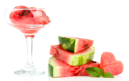 Fresh watermelon and watermelon dessert isolated on white photo